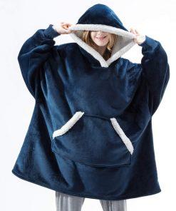 Plaid a capuche bleu