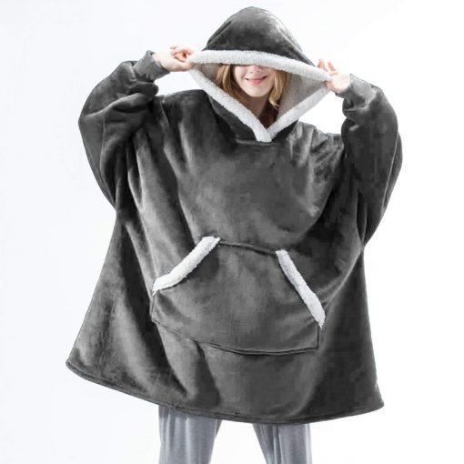 Plaid a capuche gris