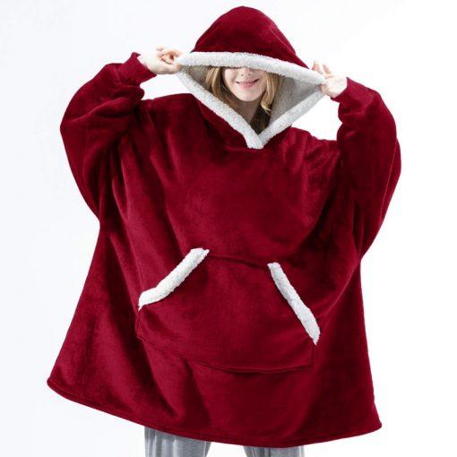 Plaid a capuche rouge