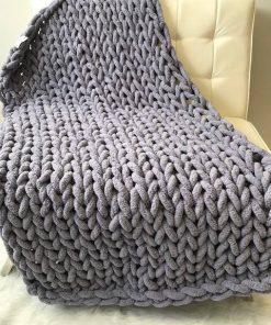 Plaid grosse maille gris foncé